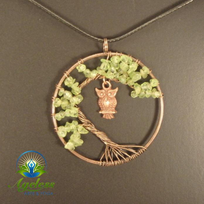 Copper Peridot Tree of Life Pendant