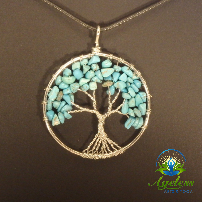 Touchstone Turquoise Pendant Necklace Yoga Jewelry Layering Necklace Silver Pendant