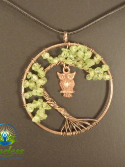 Copper Peridot Tree of Life Pendant
