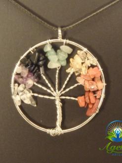 Silver Chakra Tree of Life Pendant