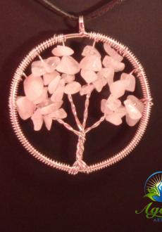 Silver Rose Quartz Tree of Life Pendant