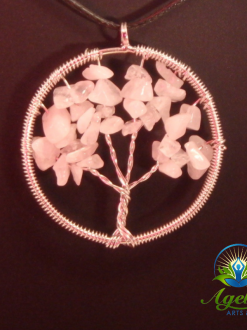 Silver Rose Quartz Tree of Life Pendant
