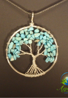 Silver Turquoise Tree of Life Pendant